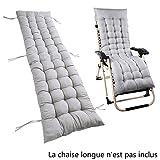 willkey Coussin Mat Coussin Bain de Soleil pour Lounge Fauteuil Chaise Transat de Jardin Fauteuil Relax épais Outdoor Assise 160 * 52 * 7 CM (Gris)