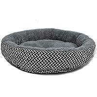 Cupcinu Casa de Nido de Mascotas Cama de Perro Colchón Perro Cama de Gato Manta de Perro Esteras para Perros Cama Redonda para Perro Impreso con un patrón en Forma de V (Gris L)
