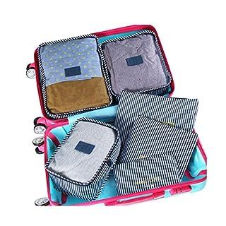 AKEA 6 Stück Set Reisen Organizer Tasche Kofferorganizer Kompresse Kleidung-3 Verpackungswürfel+3 Beutel,wasserdicht Packtaschen / Kleidertasche/Aufbewahrungstasche