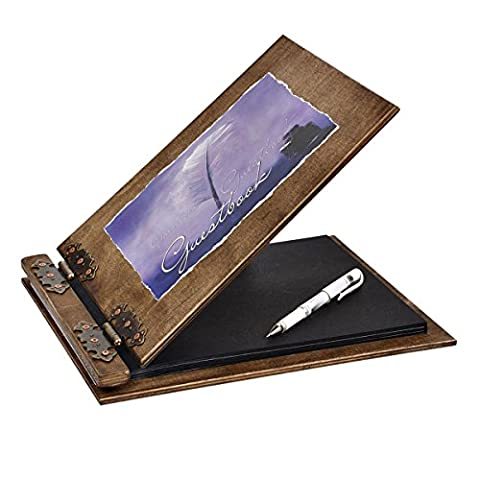 Wooden guestbook 25 paiges with inscription Guestbook and white