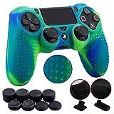 9CDeer 1 Pezzo di Siliconi Studded Protettivo Manica Caso Copertura Cover Skin + 8 Thumb Grips Tappi Analogici + 2 a Prova di Polvere Spine per Controller PS4/Slim/Pro, Blu verde