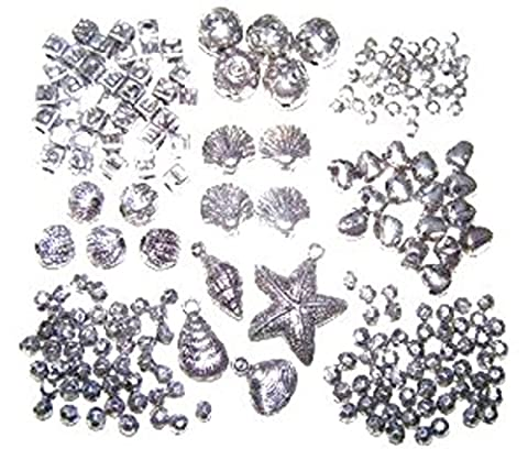 Mixed Shape Size Metallic Silver Craft Beads Shell, Letters, Balls, Faceted....