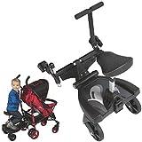 Buggyboard Trittbrett Mitfahrbrett Rollbrett + Zusatzsitz (Erweiterung) für Kinderwagen Buggy Jogger bis 20 Kg