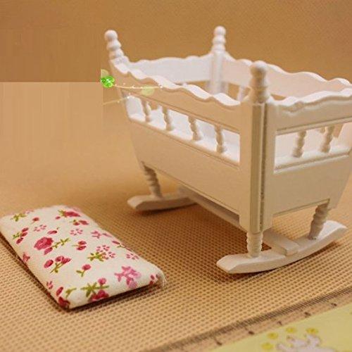 Nalmatoionme 1/12casa delle bambole in miniatura in legno nursery culla culla (bianco)