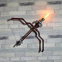 Modeen Luz de la pared de la vendimia, pipas de agua de hierro Cupid arco y aplique de flecha, metal Retro Steampunk lámpara de pared de estilo industrial para el hogar, bares, restaurantes, clubes, 110-240V, E27 Socket