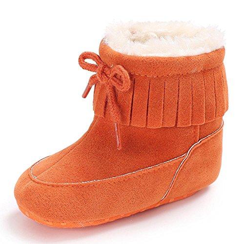 FNKDOR Baby Schuhe Kinder Mädchen Jungen Baumwolle Stiefel Warm Schneestiefel (6-12 Monate, Orange)