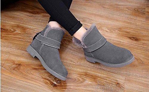 KUKI Stivali da donna, scarpe da donna, stivali da neve, scarpe di grandi dimensioni, pelle, opaco, pelle, addensato, caldo, antiscivolo, stivali gray