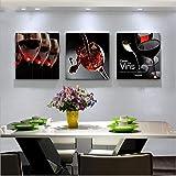 Leinwandbilder 3 teilig Restaurant dekoration malerei wohnzimmer einfache malerei familienmalerei küche esszimmer wandbild frisches obst weinglas wand painting_aOEevWQ5-50x50cmx3,Mit Rahmen