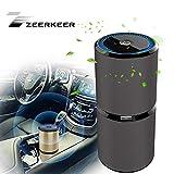 ZEERKEER auto ionizzatore purificatore d' aria, rimuove polvere, fumo di sigaretta, cattivi odori, rilascio anion- disponibile per automobile e piccola stanza Nero