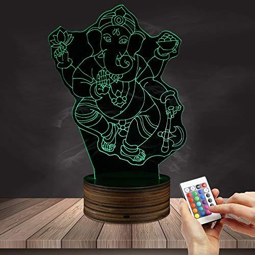 Luz India India del Elefante de la luz de la Noche del Dios hindú LED de la lámpara del Vector del Arte de la luz 3D