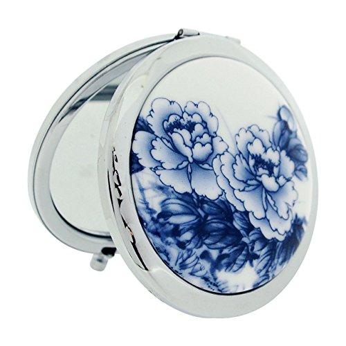 compact-mirror-7cm-blue-flower-design-ceramic-silvertone-travel-pocket-mirror-sc1321