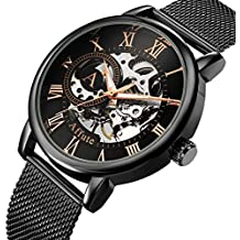 Reloj mecánico para hombre, AFFUTE, correa de malla de acero inoxidable, color negro