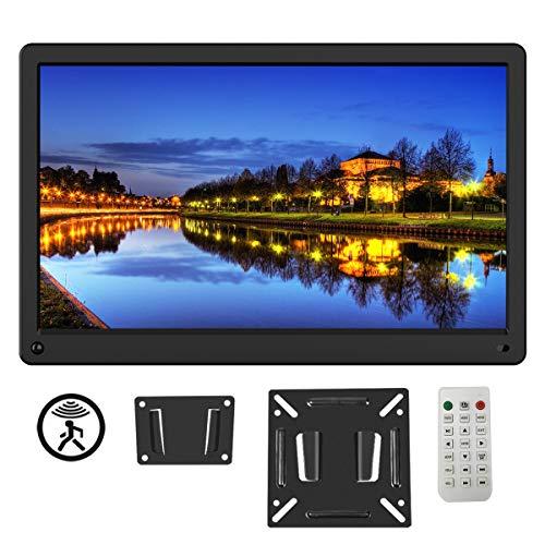 Digitaler Bilderrahmen 15 Zoll 1920x1080 HD IPS Display Elektronischer Bilderrahmen für Foto/Video/Wecker/Uhr/Kalender/Auto EIN/AUS Timer mit Bewegungssensor und Fernbedienung schwarz