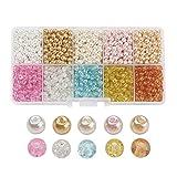 PandaHall 1.500 Stück 4-4,5mm Glas-Perlen in verschiedenen Ausführungen farbig rund zum Basteln von selbstgemachtem Schmuck, 4-4,5x 4mm, Loch: 1mm, ca. 150 Stück pro Abteil, 1.500 pro Packung. 4 ~ 4.5x4mm Colore Misto#5