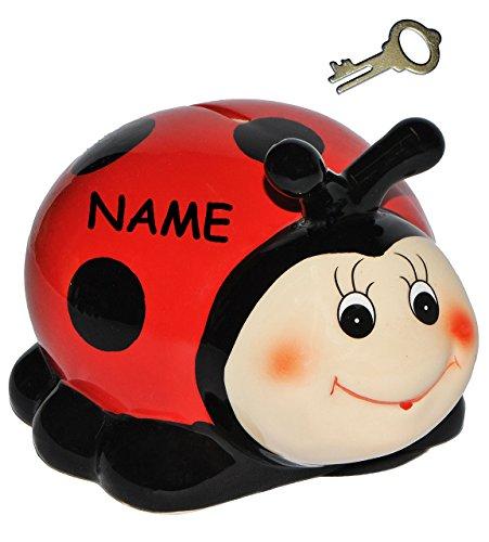 """Sparschwein - """" Marienkäfer / Glückskäfer """" - incl. Name - mit Schlüssel - aus Porzellan / Keramik - stabile Sparbüchse Spardose Kinder Figur groß Käfer - Tierfigur / Kinderspardose - Tiermotiv - Käfer lustig - lachendes Gesicht"""