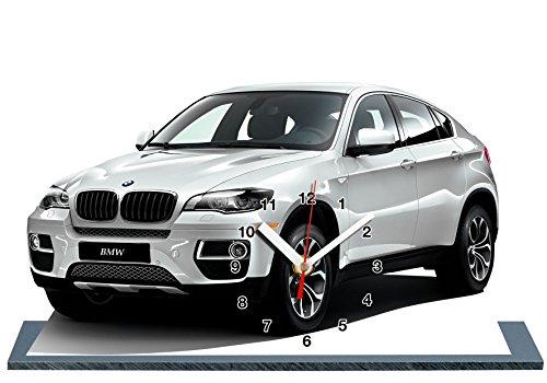 voiture-miniature-bmw-x6-blanc-en-horloge-miniature-sur-socle-02