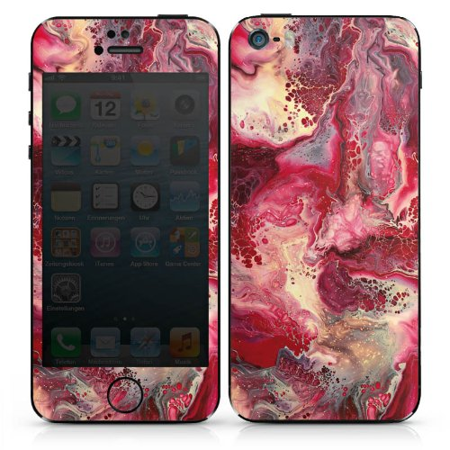 Apple iPhone 5 Case Skin Sticker aus Vinyl-Folie Aufkleber Marmor Struktur Rot DesignSkins® glänzend