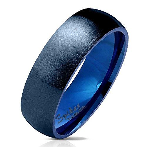 60 (19.1) Bungsa© blauer RING für Damen & Herren - Blau - Damenring aus EDELSTAHL matt - edler Edelstahlring geeignet als Verlobungsringe, Freundschaftsringe & Partnerringe (Ring Blau Männer)