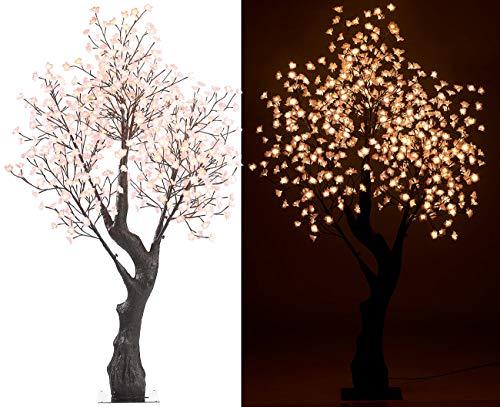 Luminea LED Dekobaum: LED-Deko-Kirschbaum, 576 beleuchtete Blüten, 200 cm, für innen & außen (LED Bäume)