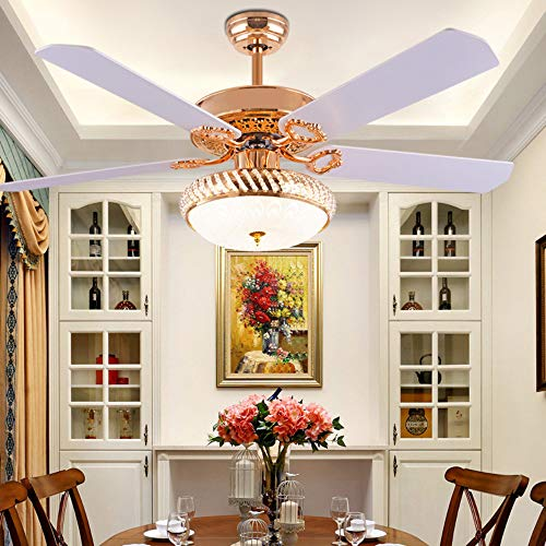 NBKLS Lüfterlicht, LED-Eisenblatt Mit Ferngesteuerter Deckenventilator, Schlafzimmer-Wohnzimmerdekoration Lüfterlicht LED24W Lichtquelle,White