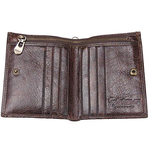 Contacts Echtes Leder-Weinlese-Mens-Kartenhalter-Geld-Klipp-Reißverschluss-Taschen-Geldbeutel-Mappe Dunkelbraun Dunkelbraun 1