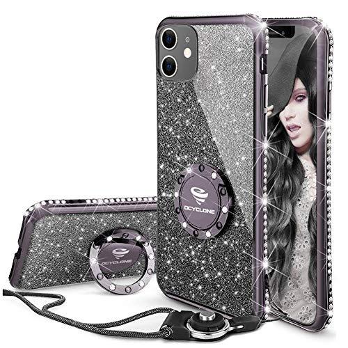OCYCLONE Hülle Kompatibel mit iPhone 11, Glitzer Diamant Handyhülle mit Ring Ständer Schutzhülle für Mädchen Frauen, Glitzer iPhone 11 Handyhülle 6,1 Zoll - Schwarz