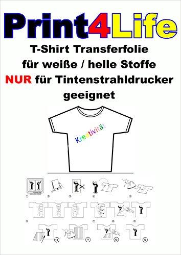 Preisvergleich Produktbild 20 Blatt DIN A4 T-Shirt Transferfolien. Eine spezielles Transferpapier zum Bedrucken von weissen und hellen T-Shirts, Basecaps,Sweat-Shirts, Baumwoll-Taschen,Bettwäsche,Fahnen,......