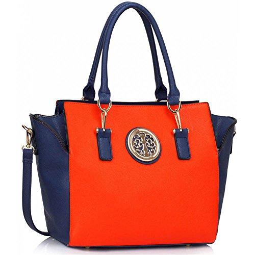 Damenhandtaschen Der Frauen Schulterbeutel Designer Neue Promi Stil Trage Groß (Lila Trage Bag1) Blau/Orange 2