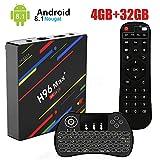 Android 8.1 TV Box,H96 Max+ Smart Box 4 Go de RAM et 32 Go de ROM Support 4K Ultra HD/2.4G WiFi/Vidéo Encodeur H.265/Bluetooth avec Mini Clavier sans Fil Rétroéclairé
