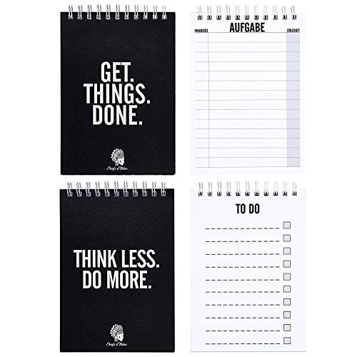 CHIEFS & TRIBES® 2er To-Do Liste Sparset I Block zum Abhaken I praktisches Ringbuch I DIN A6 I ingesamt 100 Blatt I Zettel I Planer für Aufgaben