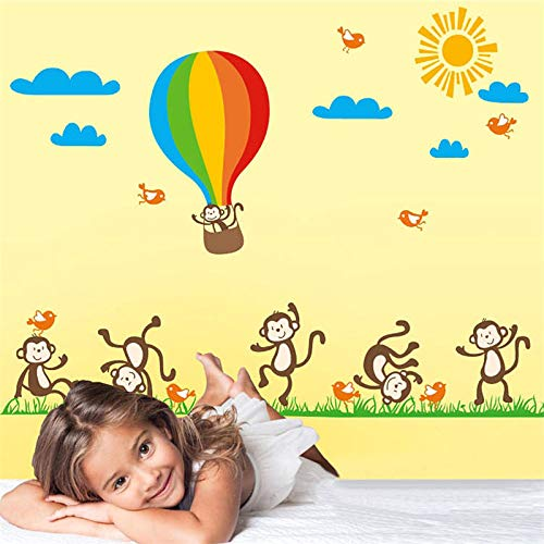 glückliche Affen, die Heißluft-Ballon-PVC für Kinderzimmer-Wand-Kunst-Dekor Poster Diy Decals Gift spielen ()