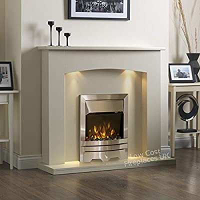 Electric Cream Ivory Silver LED Flame Fire Wall Surround Fireplace Suite Lights Spotlights 48""