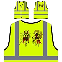 Knights Armor Girls Swords Personalized Hi Visibility Yellow Safety Jacket Vest Waistcoat r884v