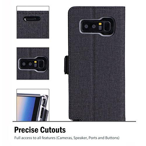 Samsung Galaxy Note 8 Étui portefeuille, ProCase Folio Folding Étui Portefeuille Couvercle Rabattable Étui de Protection pour Galaxy Note 8 2017 Release, Avec Slots à Carte Cash Clip and Kickstand -Gr Noir