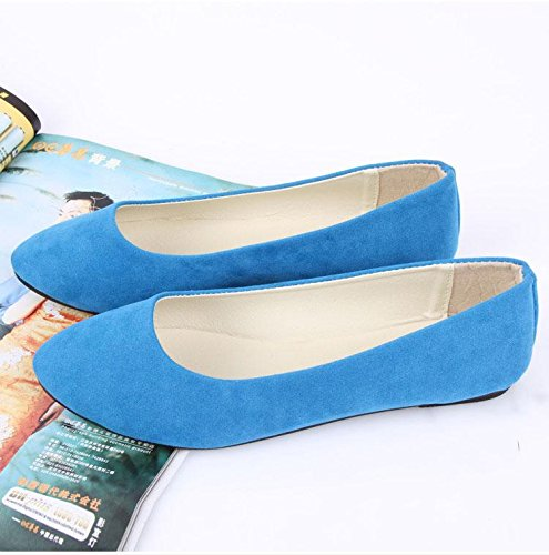 LvYuan Scarpe da donna / pelle scamosciata / ufficio & carriera / tacco piatto / comodità casual / moda casual / mocassini & scarpe da ginnastica / scarpe pigro camminate Sky Blue