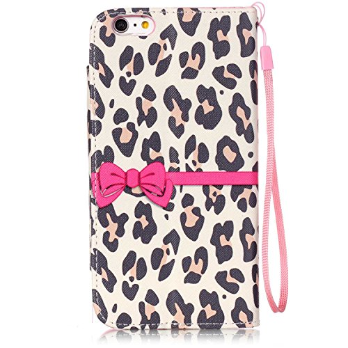 Apple iPhone 6 Plus,iPhone 6S Plus Coque,Etsue Fine Folio PU Cuir Coque Case de Téléphone Mobile pour Apple iPhone 6 Plus,iPhone 6S Plus[Printemps],Porte-carte Support Fermeture Aimantée Portefeuille  Motif léopard