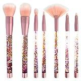 Kapmore Kit De Pinceau De Maquillage, 7Pcs Pinceau Kit Brillant Cristal Liquide Quicksand Brosse CosméTique Set Avec Sac