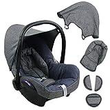 BAMBINIWELT Ersatzbezug für Maxi-Cosi CabrioFix 6-tlg. GRAU / MARINE, Bezug für Babyschale, Komplett-Set