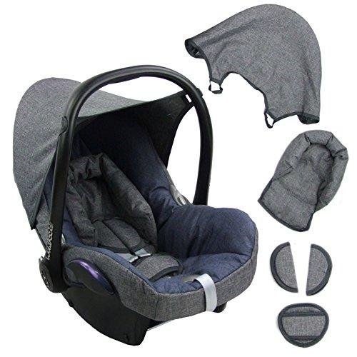 BambiniWelt Ersatzbezug für Maxi-Cosi CabrioFix 6 tlg. GRAU / MARINE *NEU* Bezug für Babyschale Sommerbezug Cabrio Fix
