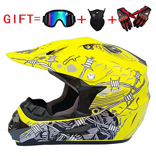 Shfmx Adult Motorcycle Off Road Helmet DOT-MX ATV Dirt Bike Motocross UTV (mit Riding Handschuhe, Goggles, Maske) Yellow/Iron Wire Thorn,L -