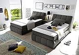 Boxspringbett 120x200 mit Bettkasten, Farbe: Anthrazit inkl Visco Topper, Matratze: 7-Zonen-Tonnentaschenfederkern, Bett von Möbel-BOXX