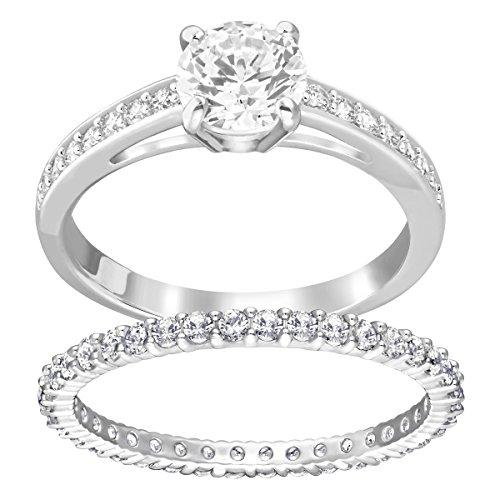 Swarovski set di anelli attract, cristallo bianco, rodiato, da donna
