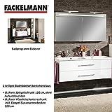 Fackelmann Badmöbel Set B.Clever 2-tlg. 120 cm weiß mit Waschtisch Unterschrank inkl. Doppel-Gussmarmorbecken & LED Spiegelschrank