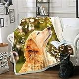 Miss Zhang's shop Verdickung Im Winter Lamm Kaschmir Decke 150(Breite) X200(Länge) cm Doppelseitiges Design (Abwaschbar - Verhindert Die Milbenbildung) Super Warm 3D-Druck Süßer Hund H-2