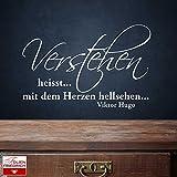 Wandtattoo W465 Verstehen heisst… mit dem Herzen hellsehen. - Victor Hugo - Wohnzimmer (88x58 cm) violett