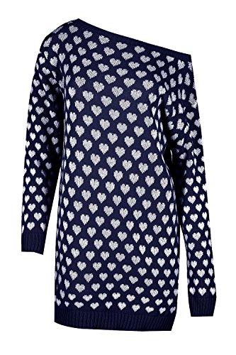 Oops Ausgabe Damen Klein Herzen Langärmlig Schulterfrei Baggy Übergröße Pulli Mini Kleid Übergröße Marineblau/Weiß