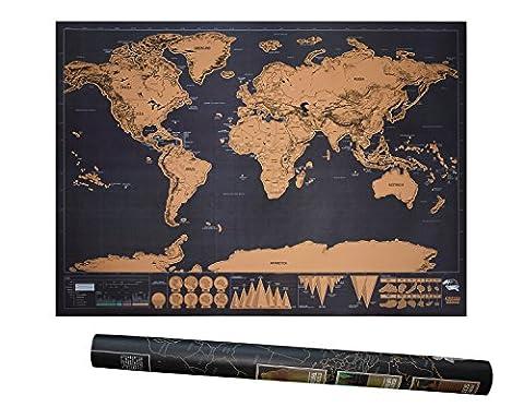 BE UNICORN | Weltkarte zum Rubbeln XXL schwarz gold | schöne Erinnerung für Reisebegeisterte und Globetrotter | tolles Geschenk | 82,5x59,5 cm