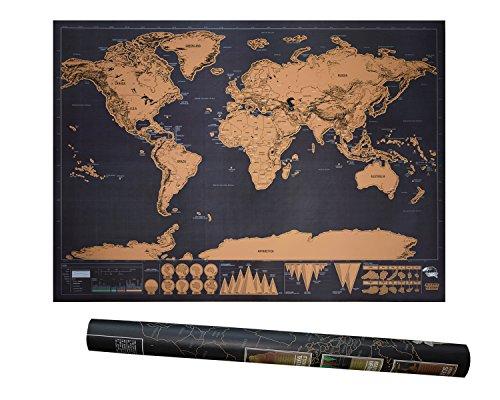 Preisvergleich Produktbild BE UNICORN | Weltkarte zum Rubbeln XXL schwarz gold | schöne Erinnerung für Reisebegeisterte und Globetrotter | tolles Geschenk | 82,5x59,5 cm