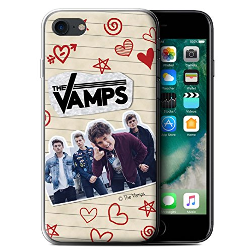 Officiel The Vamps Coque / Etui Gel TPU pour Apple iPhone 7 / Collage Design / The Vamps Livre Doodle Collection Stylo Rouge