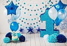 Cassisy 3x2m Vinyle 1er Anniversaire Toile de Fond Photo Bébé garçon Décor de Ballons Bleus Mur de Bricolage de Fleur Fond De Studio Photo bébé Enfant Photographie Props Photobooth
